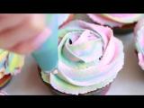 Радужные капкейки - легкий рецепт - самое вкусное тесто для маффинов