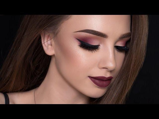 Burgundy Smokey Eyes Bold Lips Makeup Tutorial | FALL MAKEUP