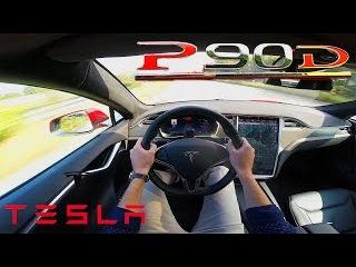 Tesla Model S 2017 P90D ACCELERATION TOP SPEED Test Drive POV Ludicrous LAUNCH mode
