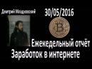 Отчёт ☬ Как заработать в интернете 30 05 2016 Новости проектов