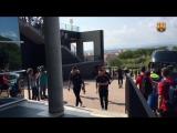 прибытие команды на стадион  Мунисипаль де Монтиливи (Жирона, Испания)