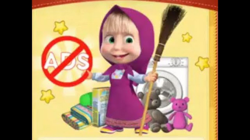 Маша и Медведь - супергерой и ниндзя в уборке комнаты - мультик игра для детей