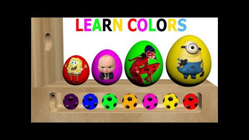 Learn Colors Wooden Xylophone Surprise Eggs! Boss Baby, SpongeBob SquarePants, Ladybug, Minions