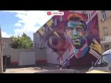 В Казани граффити Роналду нарисовали на стене склада