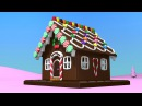 Cartoons for toddlers kids children. Construction game: gingerbread house