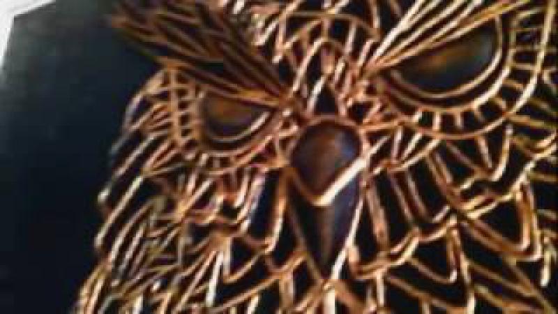 Картина по технике пейп-арт золотая сова.