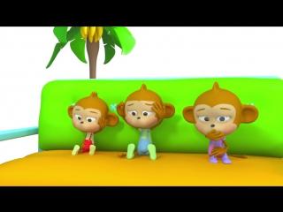 Пять мартышек. Мультфильм песенка про маленьких обезьянок для детей. Учимся считать