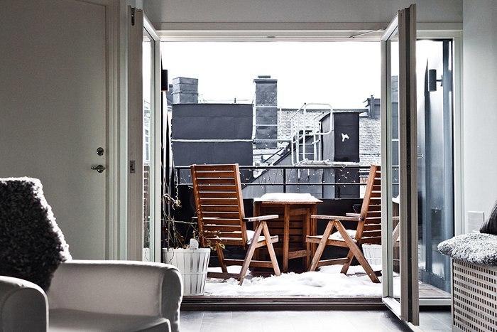 Черно-белый лофт в Стокгольме.