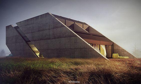 Brutalist House Concept Design by Adam Spychała