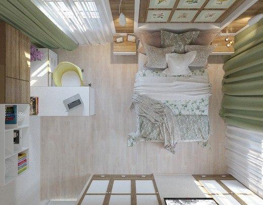 Спальня с рабочим местом в загородном доме