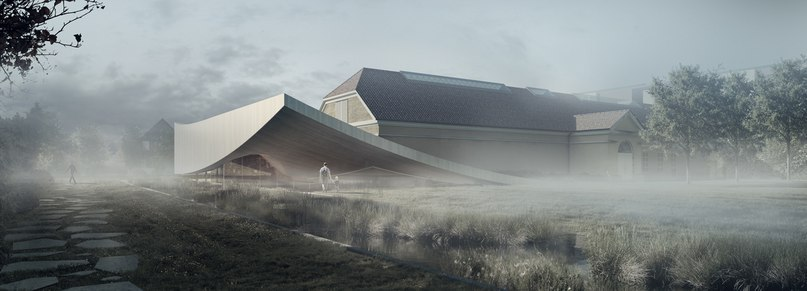 3XN's extension for silkeborg museum in denmark rises from peat landscape