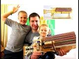 Игрушечный пулемет резинкострел Детский пулемет на резинках Деревянное оружие ...