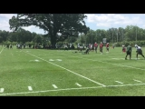 First throw, McCown on the left. Second, Hack