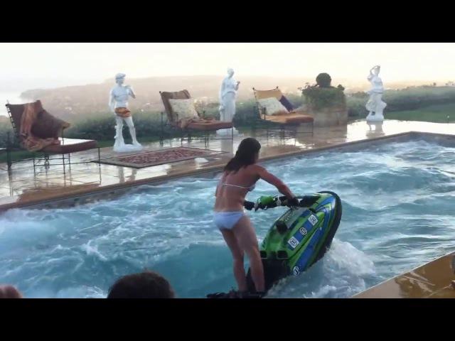 Amazing Jet Ski flips in a swimming pool