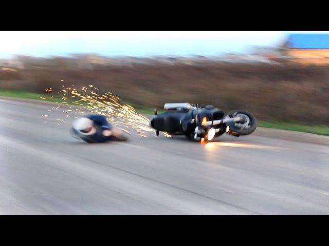 Жесткое падение на мотоцикле неудачное вилли