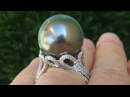 GIA Certified 18.09 MM Natural Tahitian South Sea Pearl Diamond PLATINUM Estate Ring - C795