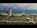 Картина чайки в море - Gulls in the sea - Andrew Pugach