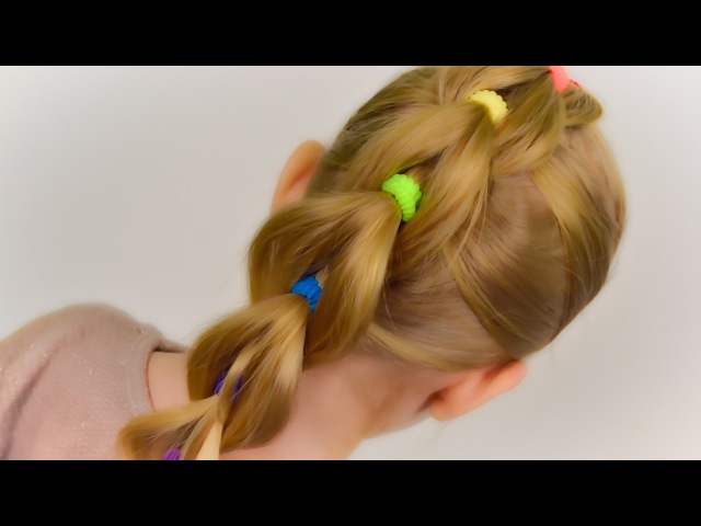 VERY SIMPLE: Pull Through Braid with Bright Elastics. Quick and Easy Hairstyle 29