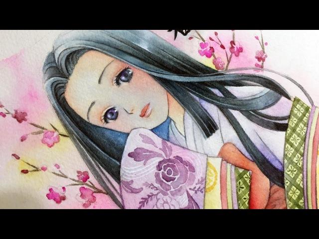 Акварельная иллюстрация. Китайский рисунок с тщательной прорисовкой мелких деталей и элементов Праздничное настроение