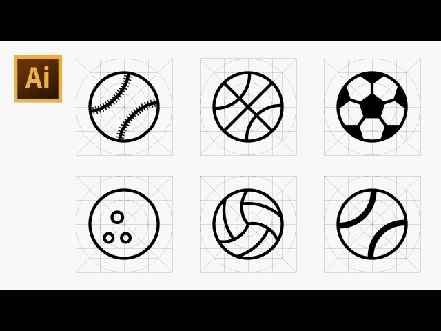 How to Draw Various Ball Icons in Sports Using Grid - Adobe Illustrator