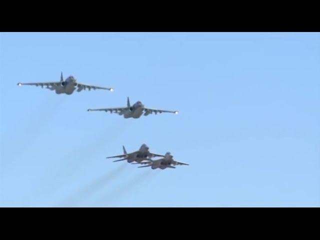 Combat work of Russian Su-25 accompanied by Syrian MiG-29.