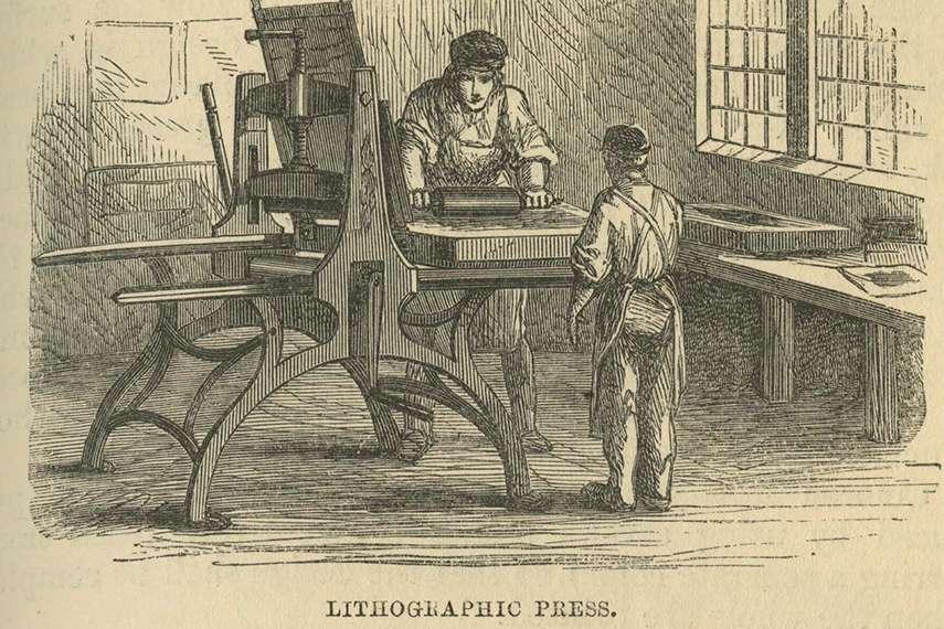 Литографская печатная машина в книге Элиши Нойс «Мальчишеская книга промышленной информации», 1858