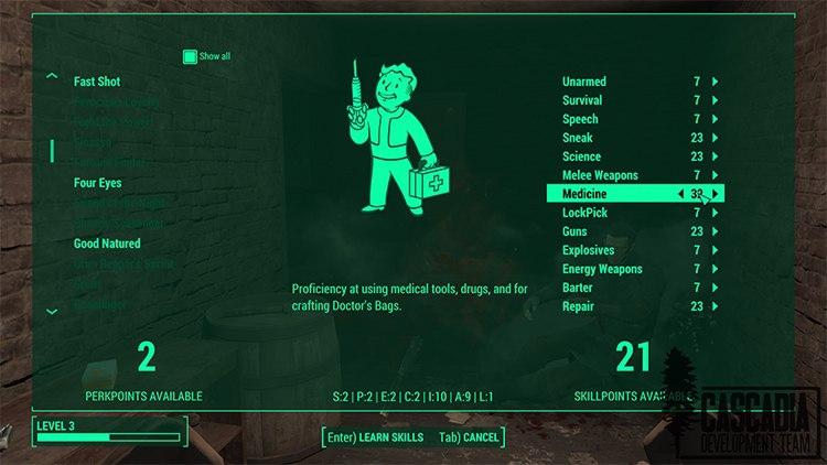 Модификация Cascadia вернёт в Fallout 4 классическую систему умений