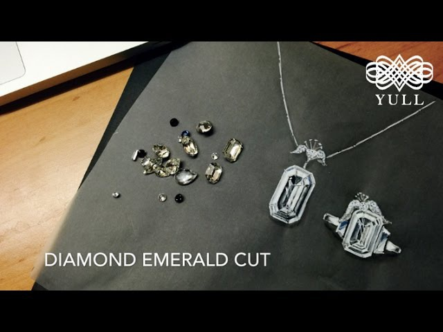 YULL jewelry design sketch in London, 율, 쥬얼리 디자인_diamond emerald cut
