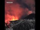Новое извержение вулкана Этна в Сицилии, как лава течет вниз по склону горы.😨