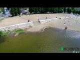 В Омске затопило набережную у Вавилона (аэросъемка)