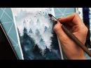 How to Paint Fog With in the mist. Как рисовать деревья/лес в тумане акварелью.