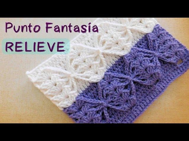 Como tejer punto crochet fantasia en relieve