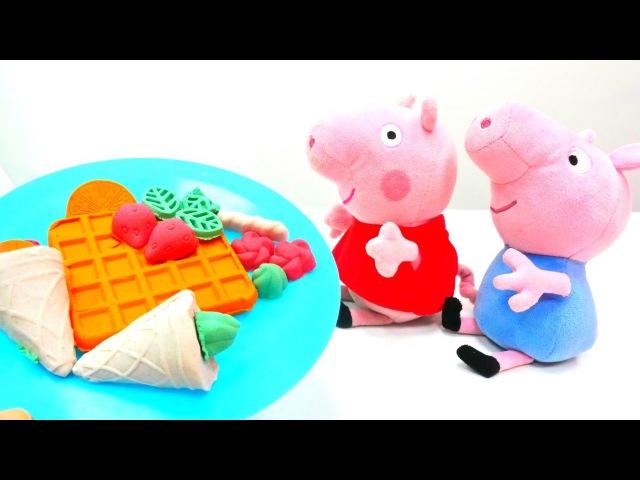 Türkçeizle. Nicole, Peppa ve George waffle yapıyor😋 Hamur oyunları.