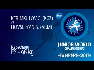 Repechage FS - 96 kg: S. HOVSEPYAN (ARM) df. C. KERIMKULOV (KGZ) by VSU, 10-0