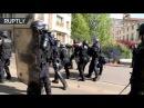 Коктейли Молотова и слезоточивый газ митинг против Макрона и Ле Пен прошёл в Париже Опубликовано 1 мая 2017 г