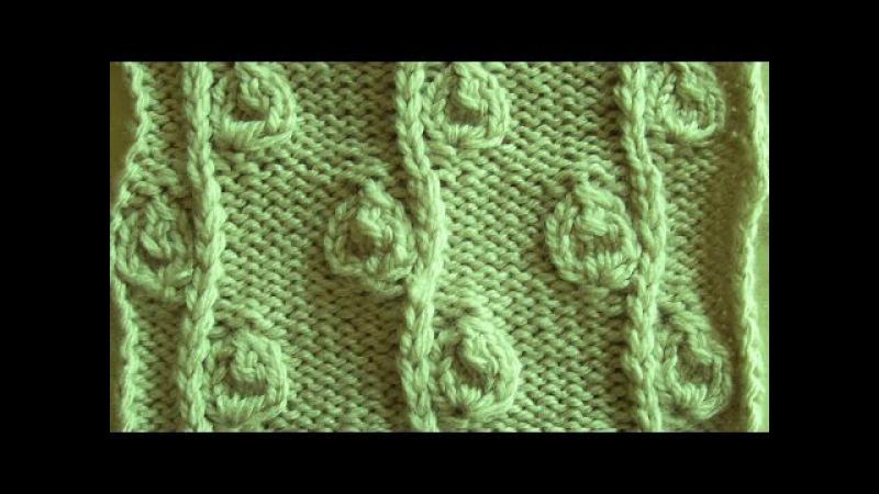 Рельефный узор Веточка с бутонами Вязание спицами Видеоуроки