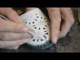 Ремонт разрыва кожи на обуви,установка внутренней заплатки
