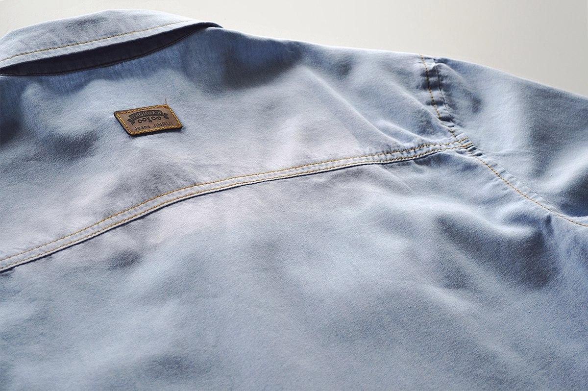 Джинсовая рубашка с коротким рукавом mens
