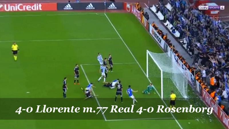 Real Sociedad 4-0 Rosenborg, 4-0 m.77 Llorente.
