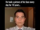 Парень фотографировал свое лицо каждый день, на протяжении 10 лет