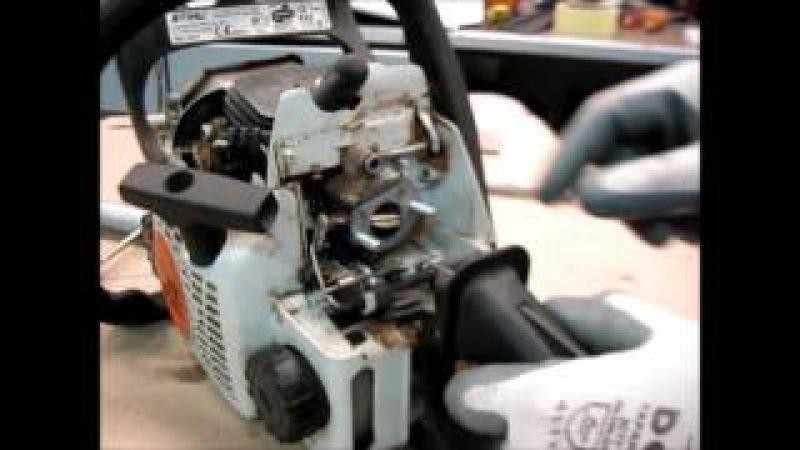 БЕНЗОПИЛА STIHL MS 180 плохо заводится,- ремонт карбюратора repair and carb tuning
