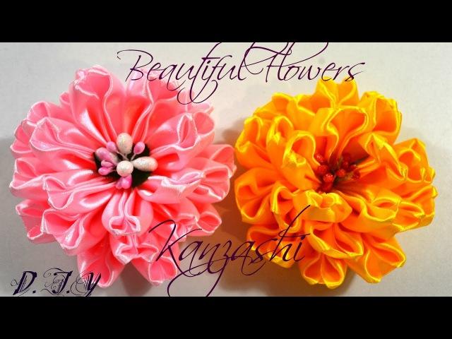 Beautiful Flowers Kanzashi/Большие цветы из ленты 5 см/Tutorial/D.I.Y