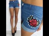 женские джинсовые шорты с вышивкой  жемчугом