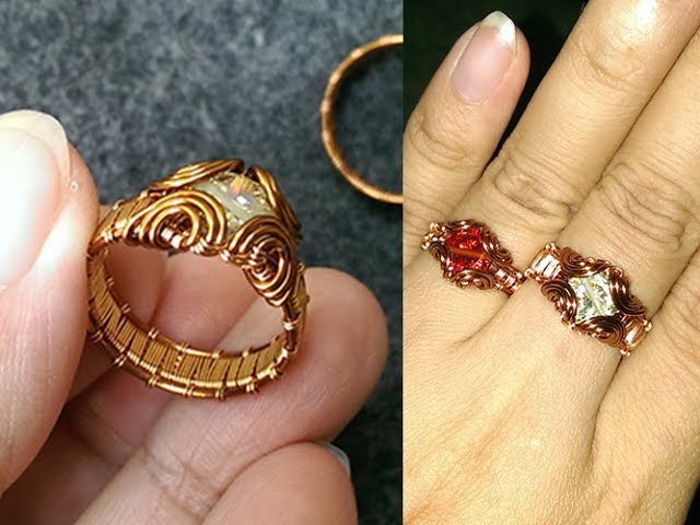 МК Кольцо prong ring with facet stone - How to make wire jewelery 247