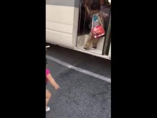 Маленькая девочка встречает возвращающегося домой брата