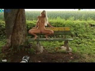 Naughty blondie Grace Hartley gets naked and pisses in the park (Pinky June)