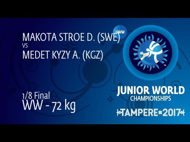 1/8 WW - 72 kg: A. MEDET KYZY (KGZ) df. D. MAKOTA STROE (SWE) by VFA, 4-6