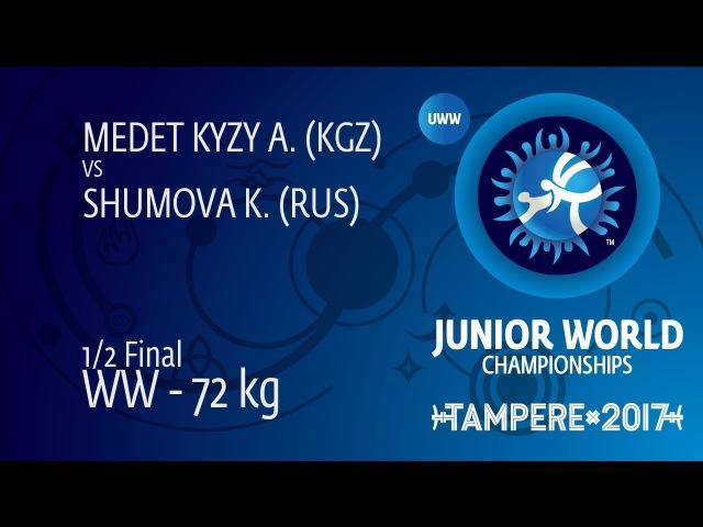 1/2 WW - 72 kg: A. MEDET KYZY (KGZ) df. K. SHUMOVA (RUS) by VSU, 10-0