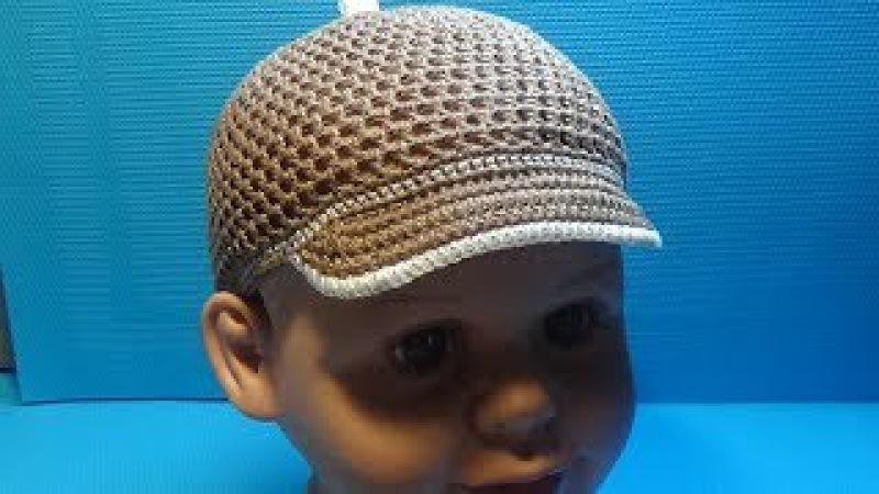 Вязание крючком кепка для мальчика 159