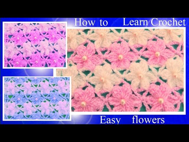 Aprende como tejer Puntos a Crochet con flores de seis pétalos en dos colores